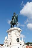 O rei equestre Jose Eu da estátua no Praca faz Comercio fotos de stock royalty free