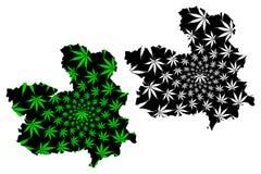 O reino de Mancha do Castilla-La da Espanha, mapa autônomo da comunidade é verde da folha do cannabis e preto projetados, Castile ilustração stock