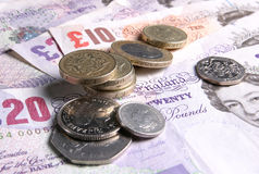 O Reino Unido inventa a moeda do dinheiro das notas Imagens de Stock Royalty Free