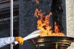 O relé de tocha dos Olympics de inverno chegou em Tessalónica foto de stock royalty free