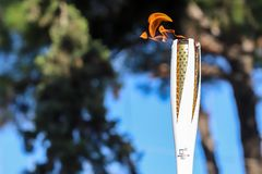 O relé de tocha dos Olympics de inverno chegou em Tessalónica imagem de stock royalty free