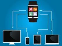 O relógio esperto é conectado aos dispositivos Fotografia de Stock Royalty Free