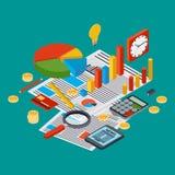 O relatório comercial, estatística financeira, gestão, analítica vector o conceito Imagem de Stock