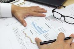 O relatório e o mercado de Summary do homem de negócios planeiam a análise da marca do dinheiro Imagem de Stock Royalty Free