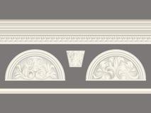 O relevo clássico de creme e a cornija ajustaram o grupo de elementos isolado, arquitetónico ilustração stock