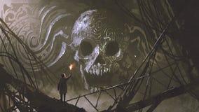 O relevo de bas de pedra do crânio na caverna ilustração royalty free