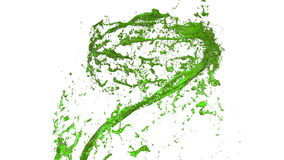 O remoinho do líquido gosta do suco no fundo branco A pintura colorida bonita está girando Redemoinho transparente isolado de video estoque