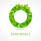 O renewable green logo. O name eco logotype. Isolated abstract loading buffering emblem. Trendy graphic leaves template. Healthy life, biotech corporate Royalty Free Stock Photography