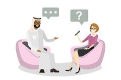 O repórter caucasiano bonito da mulher entrevista um homem de negócios árabe ilustração do vetor