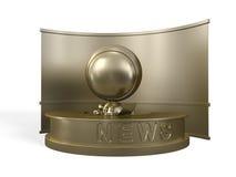 O repórter dourado informa sobre a notícia Fotos de Stock Royalty Free