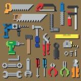 O reparo do pixel e o ícone do pixel das ferramentas de funcionamento da construção ajustaram-se no vetor Imagem de Stock Royalty Free