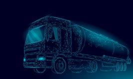 O reservatório 3D da estrada do caminhão do óleo torna baixo poli Tanque diesel da indústria da finança do petróleo do combustíve ilustração do vetor