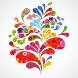 O respingo de floral e do ornamental deixa cair o fundo. ilustração royalty free