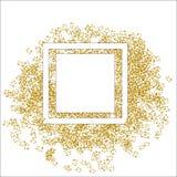 O respingo dourado ou o brilho spangles em volta do quadro com centro vazio para o texto Círculo de brilho dourado feito de minús ilustração do vetor