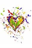 O respingo líquido colorido da pintura fez o coração Fotografia de Stock