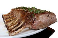 O restaurante cozinhou a cremalheira do alimento gourmet do BBQ das entrecostos de porco Imagem de Stock Royalty Free