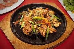 O restaurante da foto da tabela da carne do alimento disparou em 5 fotos de stock