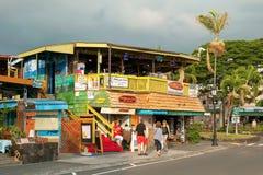 O restaurante do surfista em Kona na ilha grande em Havaí Fotos de Stock Royalty Free