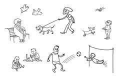 O resto exterior As famílias que jogam jogos ilustração do vetor