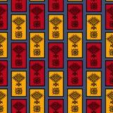 O retângulo tribal perfeito listra o teste padrão com símbolo africano sem emenda para a cópia ilustração royalty free