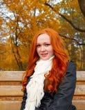 O retrato bonito da moça senta-se no banco no parque, folhas no outono, ruivo do amarelo, cabelo longo Imagem de Stock Royalty Free
