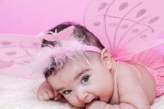O retrato bonito, bonito, feliz, carnudo e sorrindo do bebê, com borboleta cor-de-rosa voa Fotografia de Stock