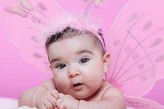 O retrato bonito, bonito, feliz, carnudo e sorrindo do bebê, com borboleta cor-de-rosa voa Imagem de Stock Royalty Free