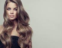 O retrato da jovem mulher lindo com elegante compõe e penteado perfeito fotografia de stock royalty free