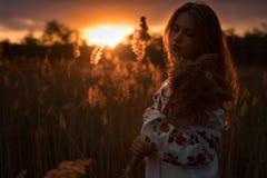 O retrato da jovem mulher no nacional ucraniano bordou a camisa imagem de stock