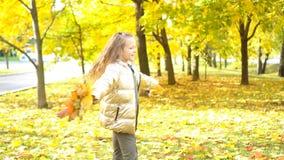 O retrato da menina adorável com amarelo deixa o ramalhete na queda filme