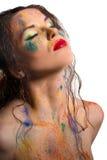 O retrato da menina com bodyart Fotografia de Stock Royalty Free