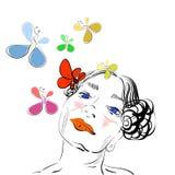 O retrato da menina com borboletas Fotos de Stock Royalty Free
