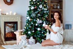 O retrato da morena grávida 'sexy' bonita no branco transparen Fotos de Stock Royalty Free