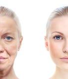 O retrato da mulher 20,60 anos velho. Fotos de Stock Royalty Free
