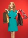 O retrato da mulher bonita com shoping ensaca Fotos de Stock Royalty Free