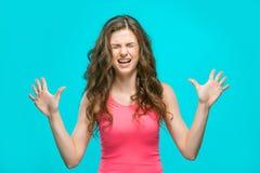 O retrato da mulher enojado Foto de Stock Royalty Free