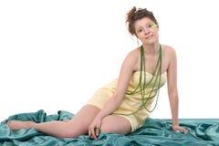 O retrato da pena bonita nova da mulher compo Imagens de Stock Royalty Free