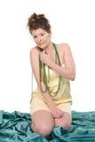 O retrato da pena bonita nova da mulher compo Imagem de Stock