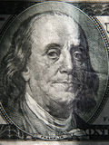 O retrato de Benjamin Franklin é descrito nas cédulas de $ 100 Fotos de Stock