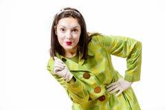 O retrato de mimica, engraçado mimicar a execução e gesticular fotografia de stock royalty free