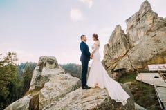 O retrato de pares bonitos do recém-casado na montanha majestosa ajardina com as rochas grandes como o backround Imagem de Stock Royalty Free