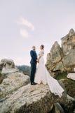 O retrato de pares bonitos do recém-casado na montanha majestosa ajardina com as rochas maciças como o backround Foto de Stock