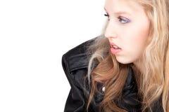 O retrato de um adolescente está olhando no branco Foto de Stock Royalty Free