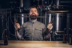 O retrato de um homem tattooed pensativo do moderno com barba à moda e o cabelo guardam duas garrafas com cerveja do ofício no in imagem de stock royalty free