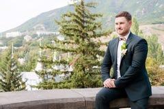 O retrato de um noivo mais anca farpado em um terno azul e um laço vermelho em um casamento andam imagens de stock