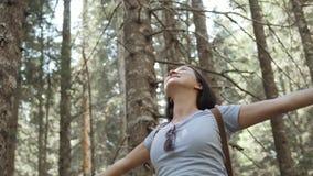 O retrato de uma mulher feliz na floresta, menina aprecia a madeira, turista com a trouxa no parque nacional, estilo de vida do c Imagens de Stock