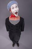 O retrato do homem mimica na cabeça vermelha e com branco Fotos de Stock Royalty Free