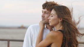 O retrato do lado do close-up dos pares de aperto e da mulher está afagando a cara do homem no fundo do vídeos de arquivo