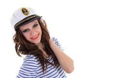 O retrato do modelo novo no marinheiro veste o levantamento imagens de stock