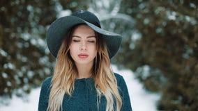 O retrato do mulheres bonitas novas com cabelo louro está sob a neve na menina feliz de sorriso da floresta que olha em video estoque